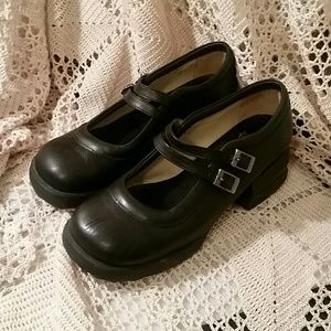 John Fluevog Black Leather Mary Jane Clogs 7 1/2